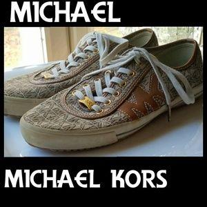 ▪MICHAEL KORS▪Gold Tan Canvas Monogram Shoes